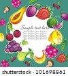 Fresh fruit and vegetable frame - stock vector