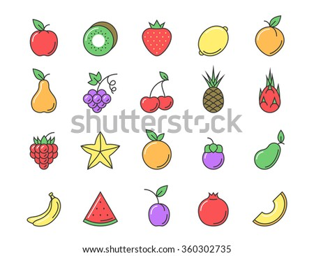 Fresh fruit icon color set. Flat line sign vector illustration for your design - stock vector