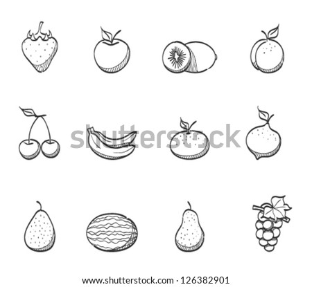 Fresh fruit icons in sketch - stock vector