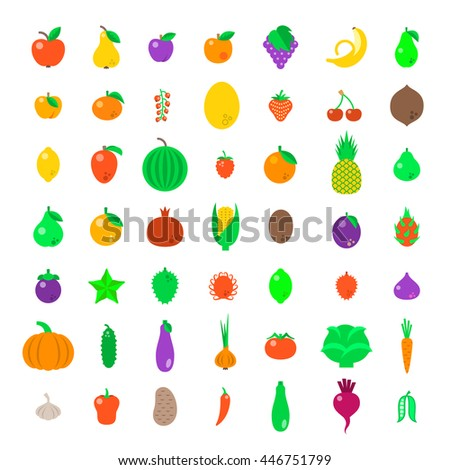 Fresh fruits and vegetables flat vector icons set. Farm harvest graphic elements. Exotic tropical citrus simple symbols. Organic food pictograms. Healthy eating objects. Vegetarian nutrition products - stock vector