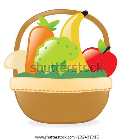 Fresh fruits and veggies in a basket - stock vector