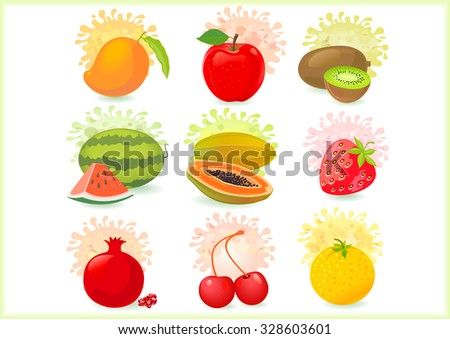 Fresh Fruits Icons - stock vector
