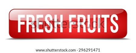 fresh fruits red square 3d realistic isolated web button