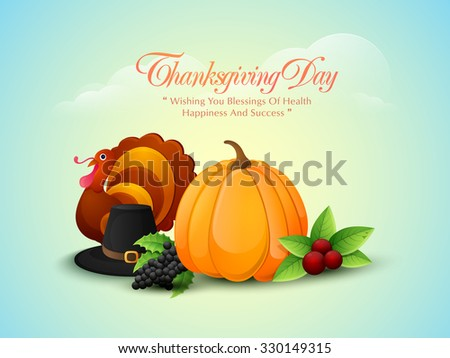 Fresh fruits, vegetables, Turkey Bird and pilgrim hat on cloudy sky background for Happy Thanksgiving Day celebration. - stock vector