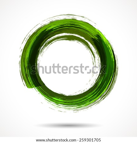 Fresh green brush painted watercolor ring on white background  - stock vector