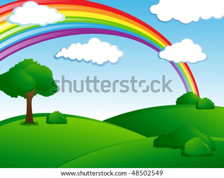 fresh green landscape with rainbow - stock vector