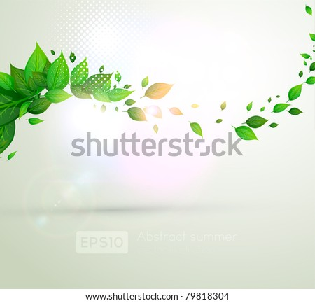 fresh green leaves for summer banner design - stock vector