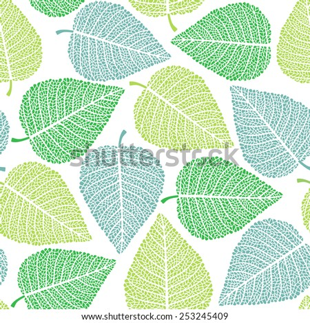Fresh green leaves seamless background - vector illustration - stock vector