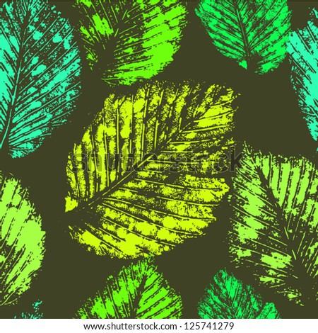 Fresh green leaves traces seamless pattern, vector - stock vector