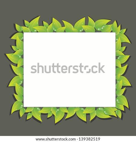 Fresh green leaves vector frame - stock vector