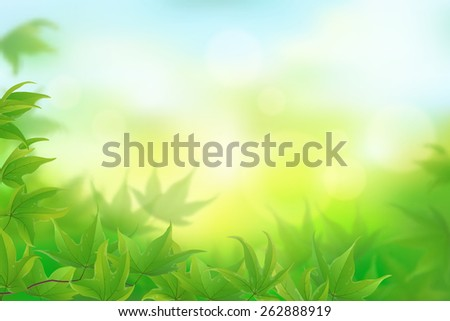 Fresh green maple leaves background, vector illustration - stock vector