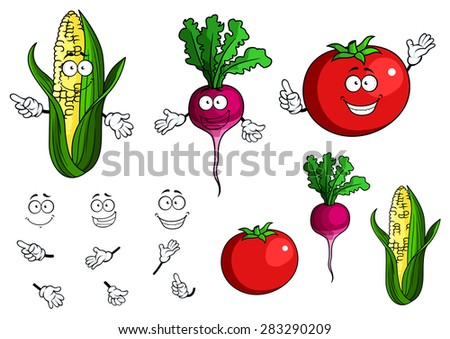 Fresh healthy happy cartoon vegetables with and without smiling faces and hands including corn, radish and tomato - stock vector