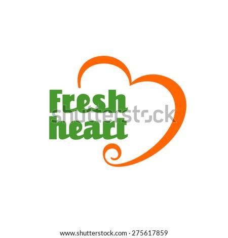 Fresh heart logo - stock vector