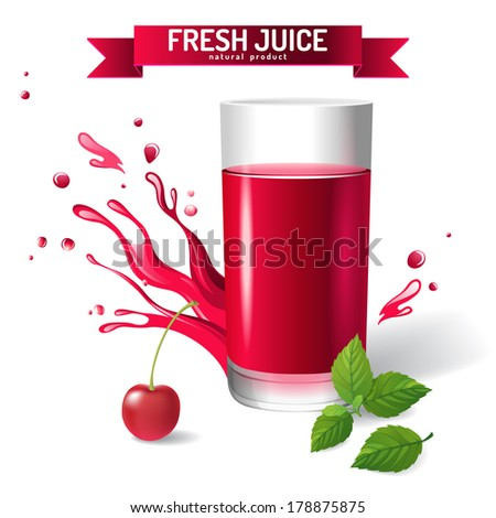 Fresh juice background with cherry and mint - stock vector