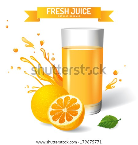 Fresh juice background with orange and mint - stock vector