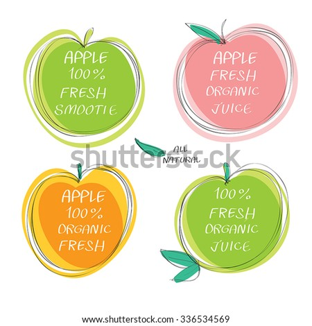 Fresh juice -  Health Food Headings vector set  - Apple juice circle stickers with inscription fresh. Calligraphic Organic food hand drawn icons collection isolated on white background. Eps 10. - stock vector