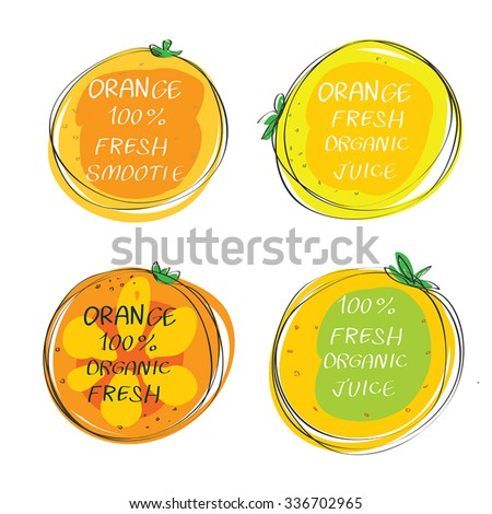 Fresh juice -  Health Food Headings vector set  - Orange juice circle stickers with inscription fresh. Calligraphic Organic food hand drawn icons collection isolated on white background. Eps 10. - stock vector