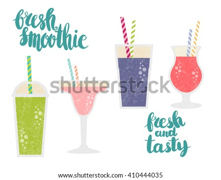 Fresh juice made in flat style. Fruit smoothie. Healthy life concept Fruit smoothie. Organic raw shake. Vector smoothie with text fresh smoothie. Fresh and tasty. - stock vector