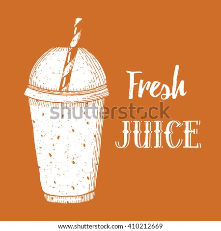 Fresh juice poster in vintage style, vector - stock vector