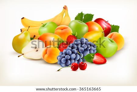 Fresh juicy fruit and berries isolated on white background. Vector - stock vector