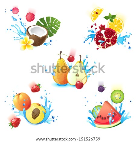 Fresh juicy fruits falling in water splashes - stock vector