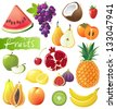 Fresh juicy fruits set. EPS 10 - stock vector