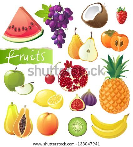 Fresh juicy fruits set. EPS 10 - stock vector
