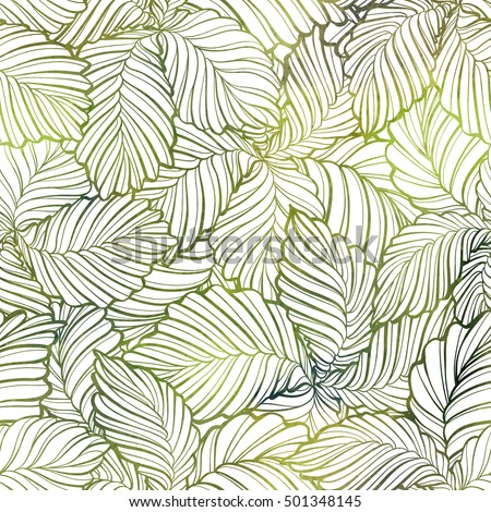 Fresh leaves vector seamless pattern. Green and brown graphic background.