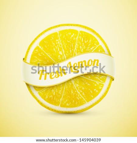 fresh lemon with ribbon eps10 vector illustration - stock vector