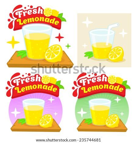 Fresh Lemonade Lemon Juice Comic Cartoon Flat Vector Illustration Logo Template Isolated on white - stock vector