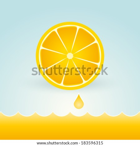 Fresh lemons with a drop of fruit juice - stock vector