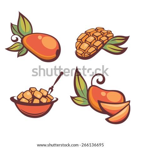 fresh mellow mango, vector illustration - stock vector