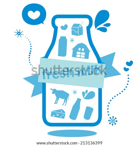 fresh milk - stock vector