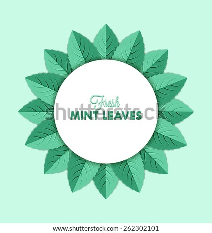 Fresh mint leaves decoration isolated on pale green background - stock vector