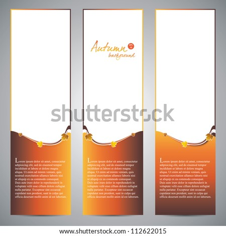Fresh natural fall vertical banners with leafs and sample text.Vector - stock vector