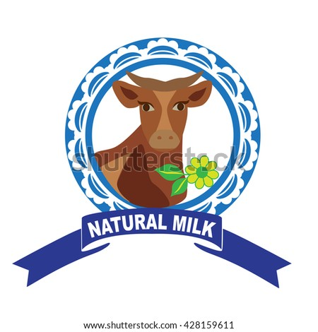 Fresh natural milk graphics with cow illustration , milk box bottle and glass of milk. - stock vector