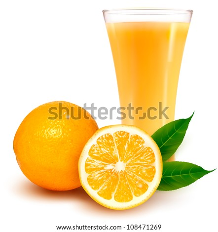 Fresh orange and glass with juice.  Vector illustration. - stock vector