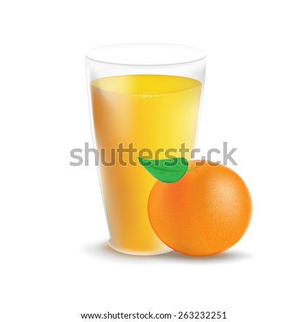 Fresh orange and glass with juice. Vector illustration - stock vector