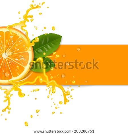fresh orange background with splashes - stock vector