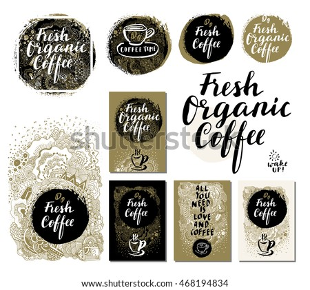 Trendy Handdrawn Doodle Cards Labels Badges Posters