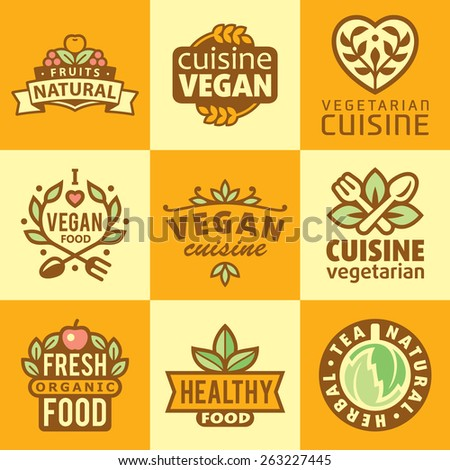 Fresh Organic Labels and Elements,icons for food and drink, restaurants and organic products  - stock vector