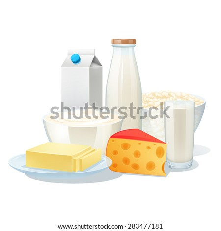 Fresh organic milk products set with cheese and butter vector illustration - stock vector