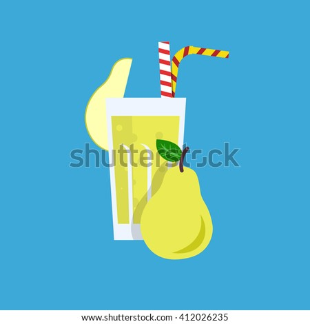 Fresh pear juice. Pear juice vector illustration. Pear fresh in a glass. Pear juice with tubule. Fresh juice for menu in cafe. Fresh pear juice in a glass. Summer drink with tubule. Cold juice - stock vector