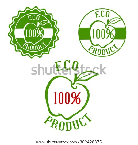 Fresh product green labels with apple and leaf outlines framed by round seals. For natural healthy food and drink design