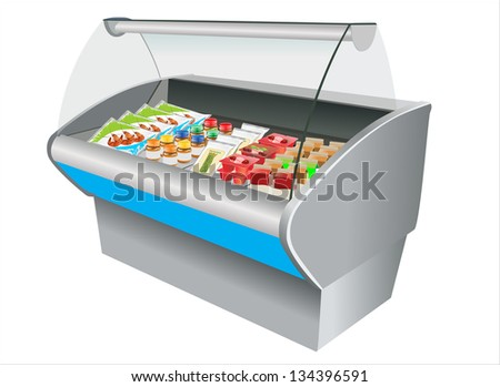 Fresh refrigerated  in refrigerator in a shop - stock vector