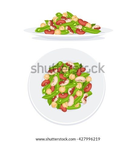 Fresh salad from beans, french beans and chickpea on plate isolated on white background. Salad op view and salad side view. Healthy food concept. Salad vector illustration for menu design.