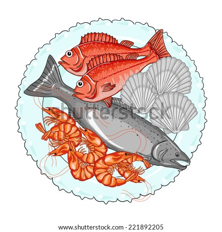 Fresh seafood. Big salmon, shrimps,  perch and scallops on a plate. Hand drawn vector illustration. - stock vector