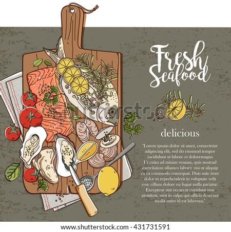 Fresh seafood on wood - stock vector