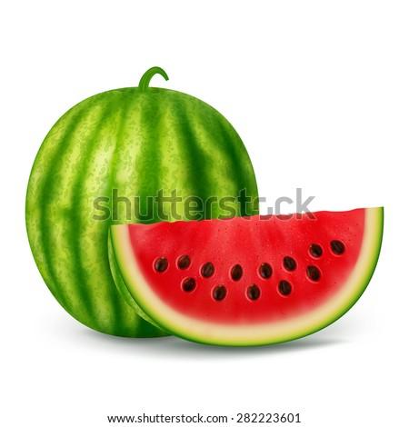 Fresh sliced watermelon on a white background.Vector illustration. - stock vector