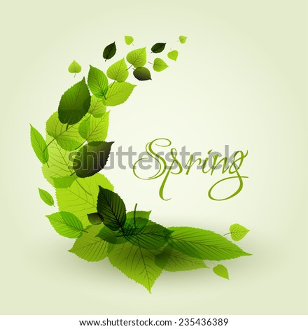 Fresh spring abstract floral background - circle from green leafs with place for your text - stock vector